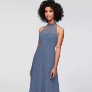 Steel Blue Halter Dress -NEW